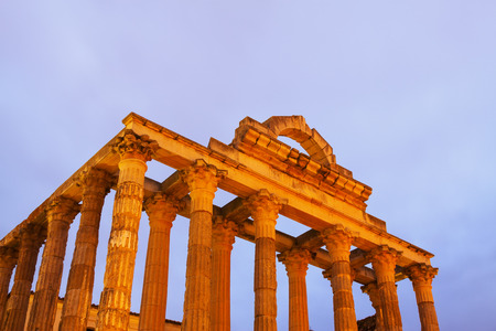 diana: ancient temple of Diana in early morning time. Merida, Spain Stock Photo
