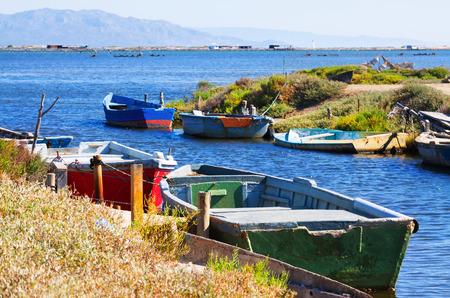 ebre: Old fishing boats at delta of Ebro river Stock Photo