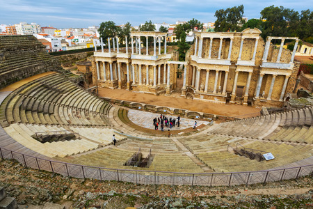 2nd century: MERIDA, SPAIN - NOVEMBER 19, 2014: Antique Roman Theatre  in  Merida, Spain. Built by the Romans  in end of the 1st century or early 2nd century