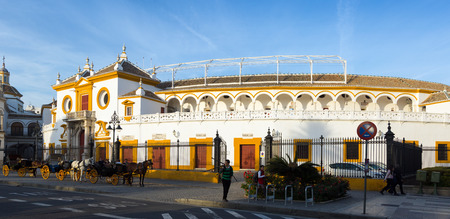 toros: SEVILLE, SPAIN - NOVEMBER 19, 2014: Day view of Plaza de Toros, the location of  Bullfighting Museum. Seville