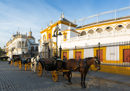toros: SEVILLE, SPAIN - NOVEMBER 19, 2014:  Plaza de Toros, the location of  Bullfighting Museum. Seville, Andalusia
