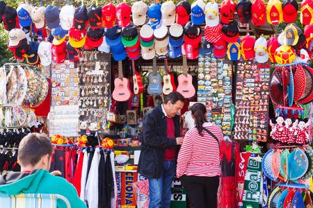 SEVILLE, SPAIN - NOVEMBER 19, 2014:  Seville souvenirs near  Plaza de Espana. Seville