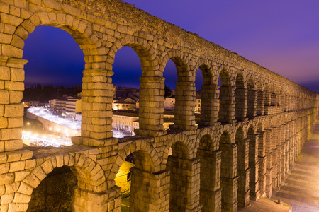 cityspace: roman aqueduct  in  early morning.  Segovia, Spain