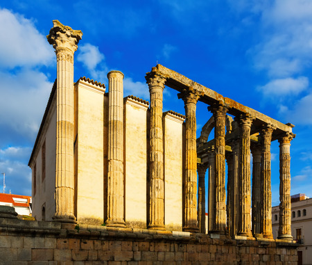 diana: ancient temple of Diana in sunny  time. Merida, Spain