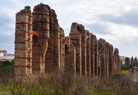 merida: antique  Roman Aqueduct at Merida in  autumn  time. Spain
