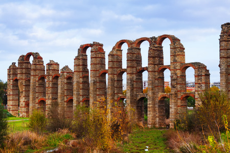 acueducto: autumn view of Acueducto de los Milagrost. Merida, Spain