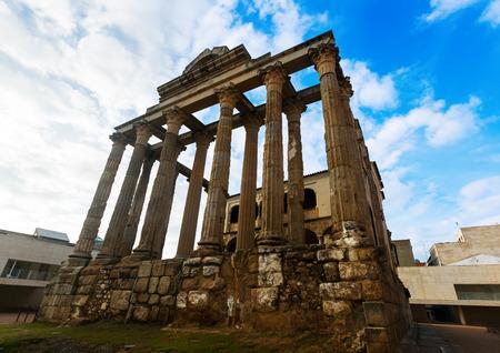 diana: Temple of Diana -  antique temple of the Roman Empire. Merida, Spain Stock Photo