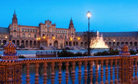 espana: twilight view of Plaza de Espana. Seville