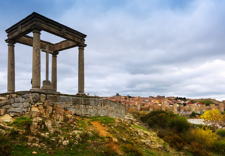 postes: View of Avila with Los Cuatro Postes monument. Spain