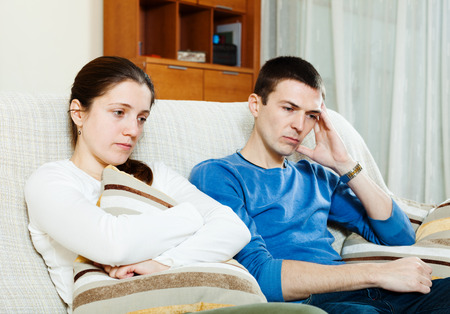 depressed woman: Sadness  couple having problems at home Stock Photo