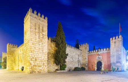 alcazar: Leo gate and wall of  Alcazar in evening. Seville, Spain