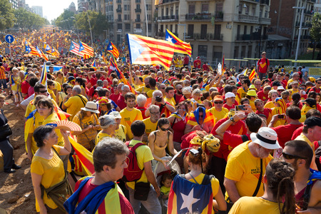 independency: BARCELONA, SPAIN - SEPTEMBER 11, 2014: Rally to 300th anniversary of  loss of independence of Catalonia  in Barcelona Editorial