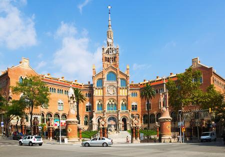 saint paul: BARCELONA, SPAIN - SEPTEMBER 13, 2014: Main facade of Hospital of the Holy Cross and Saint Paul in Barcelona.  Spain Editorial