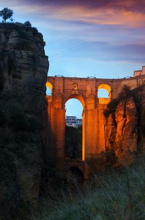 nuevo: Puente Nuevo bridge in evening. Ronda, Spain Stock Photo