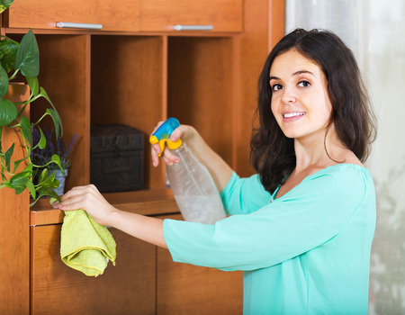 cleanser: Cheerful young woman removes dust from furniture cleanser