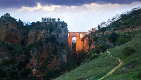 nuevo: Twilight view of Ronda with Puente Nuevo bridge Stock Photo