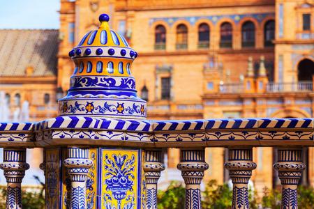 espana: Tiles fence  at Plaza de Espana. Seville Editorial