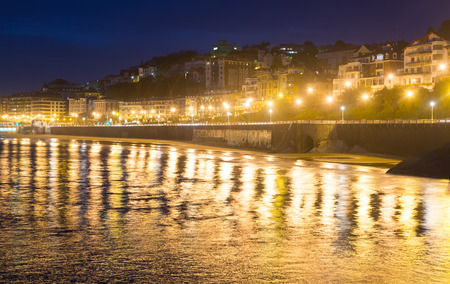 autonomous: Embankment  of La Concha in  autumn night at Donistia. Basque Autonomous Community, Spain