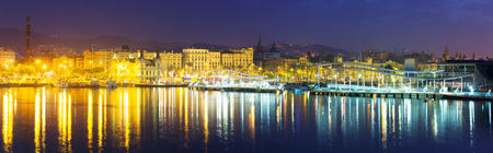 cityspace: Barcelona cityspace from Port Vell in night. Catalonia, Spain