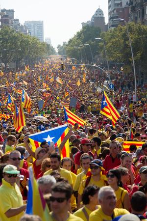 demanding: BARCELONA, SPAIN - SEPTEMBER 11, 2014: Rally demanding independence for Catalonia in Barcelona, Spain