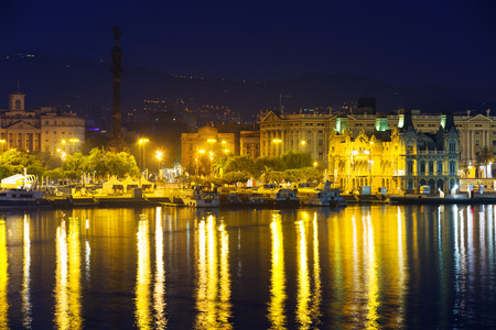 columb: Barcelona from Port Vell in night. Catalonia, Spain