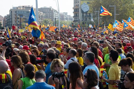 independency: BARCELONA, SPAIN - SEPTEMBER 11, 2014: Crowd at  rally to 300th anniversary of  loss of independence of Catalonia  in Barcelona, Spain