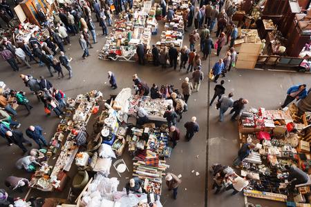 BARCELONA, SPAIN - MARCH 10, 2014: Top view of Mercat de Encants flea market in Barcelona, Spain.