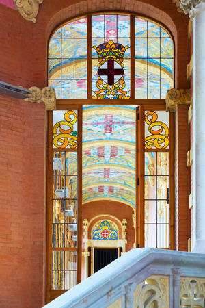 BARCELONA, SPAIN   SEPTEMBER 13, 2014: Stained Glass Window In Interior Of