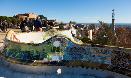 antoni: BARCELONA, SPAIN - DECEMBER 26, 2013: Park Guell in winter.   Park was designed by Antoni Gaudi and built in 1900 to 1914