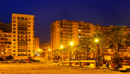 dwelling: Dwelling houses at  port side  in  evening. Algeciras, Spain Stock Photo