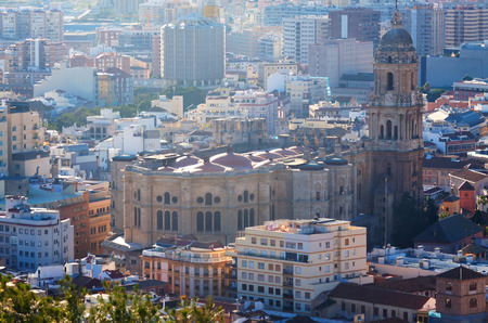 cityspace: Malaga Cathedral and cityspace from castle. Spain