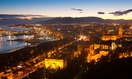 incarnation: Old  districts in Malaga with Cathedral in dawn.  Spain Stock Photo