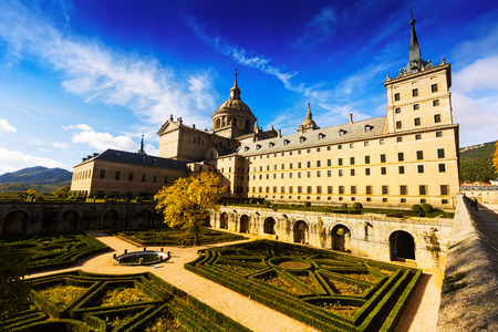 Wide angle shot of Royal Palace  in sunny day.   El Escorial, Spain