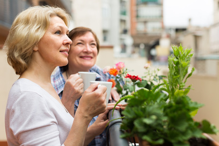 2 50: Two happy mature pensioners drinking tea on balcony and smiling Stock Photo