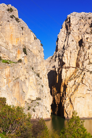 camino: View of  Camino del Rey  in rocky  canyon. Andalusia, Spain
