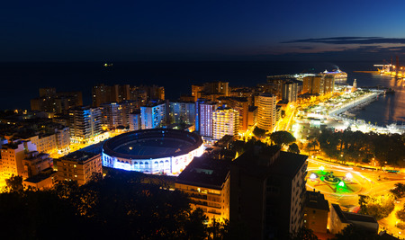 Malaga and Mediterranean  in  night time. Andalusia,  Spain photo
