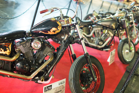 17th: BARCELONA, SPAIN - OCTOBER 3, 2014: Motorcycles at exhibition. The 17th edition of The Barcelona Tattoo Expo in Fira de Barcelona Editorial