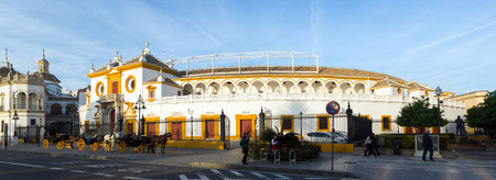 toros: SEVILLE, SPAIN - NOVEMBER 19, 2014: Day view of Plaza de Toros. Seville, Andalusia