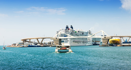 cruiseliner: Cruiser terminals at the Port of Barcelona.  Spain Stock Photo