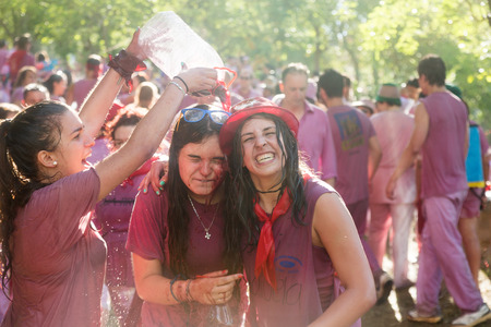 vino: HARO, SPAIN - JUNE 29, 2014: Happy women during Batalla del vino - Haro Wine Festival, La Rioja