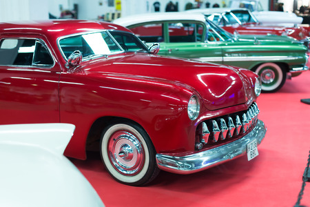 17th: BARCELONA, SPAIN - OCTOBER 3, 2014: Luxury vintage  automobile at carshow. The 17th edition of The Barcelona Tattoo Expo in Fira de Barcelona