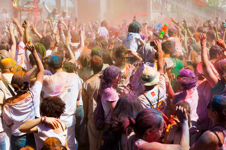 colores: BARCELONA, SPAIN - APRIL 6, 2014: People at Festival de los colores Holi Barcelona. Holi is traditional holiday of India