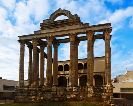 diana: Temple of Diana - the antique temple of the Roman Empire. Merida, Spain Stock Photo