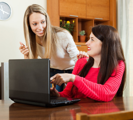 relaxed woman: wonder women looking to laptop at table in home Stock Photo