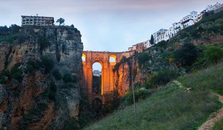 nuevo: Twilight view of Ronda with Puente Nuevo bridge. Spain