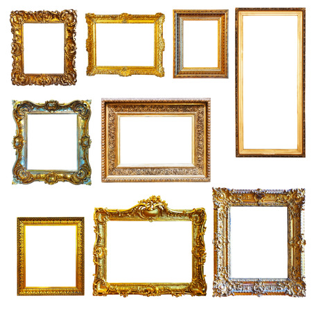 Set of vintage gold picture frames on white background