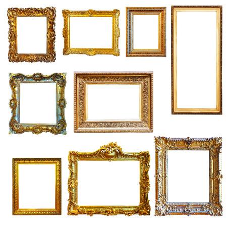 Set of vintage gold picture frames on white background