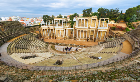 1st century: MERIDA, SPAIN - NOVEMBER 19, 2014:  Roman Theatre  in  Merida, Spain. Built by the Romans  in end of the 1st century or early 2nd century