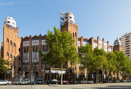 monumental: BARCELONA, SPAIN - JULY 12, 2014: Exterior of Plaza Monumental de Barcelona. Spain Editorial