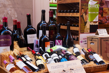 wine trade: LOGRONO, SPAIN - JUNE 28, 2014: Alcohol store in Logrono. The city is centre  the trade in Rioja wine, for which the area is noted